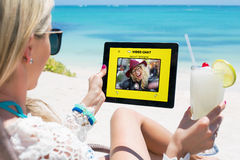 Women using video chat app Royalty Free Stock Photos