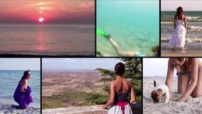 Women on vacation, collage. Women's relaxing time on vacation, montage stock video