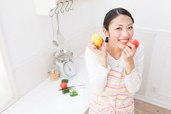 Women with vegetables royalty free stock photography