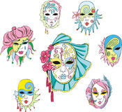 Women in Venetian carnival masks Stock Photos