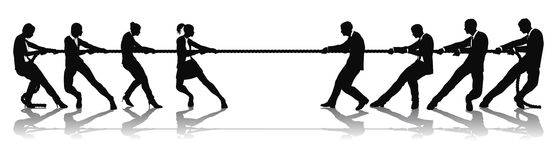 Women versus men business tug of war competition. Concept. Could be related to battle of the sexes or wage equality issues Stock Photography