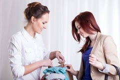 Women viewing clothes Stock Photo