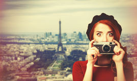 Women with vintage camera Royalty Free Stock Photography