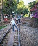 Women visit the Death Railway historical World War 2. KANCHANABURI, THAILAND - JANUARY 14: Women visit the Death Railway historical World War 2. on January 14 royalty free stock images