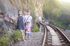 Women visit the Death Railway historical World War 2. KANCHANABURI, THAILAND - JANUARY 14: Women visit the Death Railway historical World War 2. on January 14 stock images