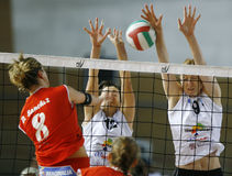 Women volley block action Royalty Free Stock Photo