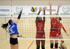 Women volleyball action Royalty Free Stock Photo