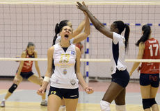 Women volleyball attack Royalty Free Stock Image