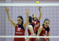 Women volleyball attack Stock Photos