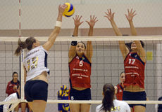 Women volleyball attack Stock Photo
