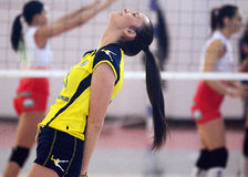 Women volleyball player angry and disbelief reaction Stock Photos