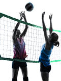 Women volleyball players isolated silhouette Stock Photos