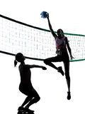 Women volleyball players isolated silhouette Stock Image