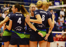 Women volleyball players joy during Champions League game. Women volleyball players pictured in action during the CEV Champions League game between Dinamo royalty free stock photography