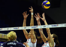 Women volleyball players pictured in action during Champions League game Stock Photos