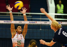 Women volleyball players pictured in action during Champions League game Royalty Free Stock Image