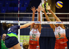 Women volleyball players pictured in action during Champions League game Stock Images