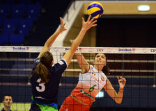 Women volleyball players pictured in action during Champions League game Royalty Free Stock Photo