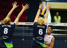 Women volleyball players pictured in action during Champions League game Royalty Free Stock Images