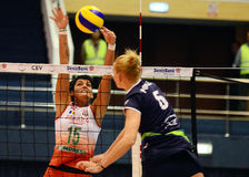 Women volleyball players pictured in action during Champions League game Royalty Free Stock Photos