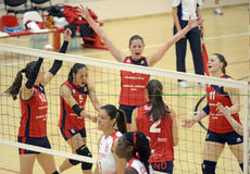 Women volleyball win reaction Royalty Free Stock Photos