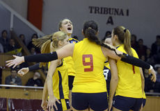 Women volleyball win reaction Stock Images