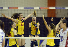 Women volleyball win reaction Stock Image