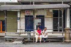 Women waiting for bus in George Town royalty free stock photo