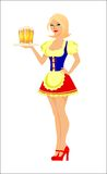 Women Waitress Beer. Cute Women Waitress Beer Smiling Face available in eps suitable for sticker, t-shirt, mug, magazine, website, etc Royalty Free Stock Photography