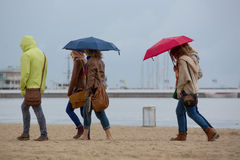 Women walking on the beach in Sopot Royalty Free Stock Photography