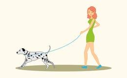 Women walking the dog dalmatian breed. Royalty Free Stock Image
