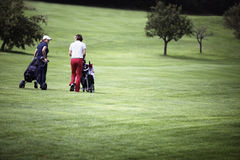 Women walking at golf course with trolleys. Royalty Free Stock Image