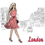 Woman walking in London. Women walking in London, United Kingdom. Hand-drawn illustration. Fashion sketch royalty free illustration