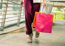 Women walking to shopping, sale, consumerism concept. Royalty Free Stock Images