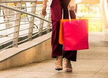 Women walking to shopping, sale, consumerism concept. Stock Photo