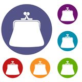 Women wallet icons set. In flat circle reb, blue and green color for web Stock Photos