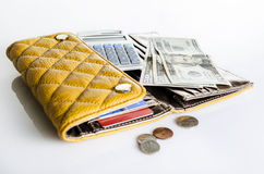 Women wallet and money Stock Images