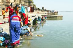 Women are washing in the Narmada river Stock Photo