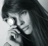 Women with watch. Portrait of responsible woman with watch Royalty Free Stock Photography