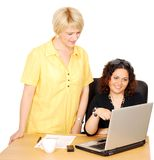 Women watch something fun on laptop Stock Photography