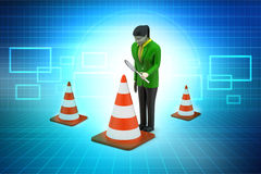 Women watching traffic cone Royalty Free Stock Images