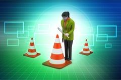 Women watching traffic cone Stock Photo