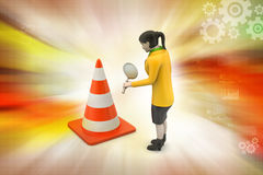 Women watching traffic cone Stock Images