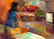 Women watching tv. Original oil painting on canvas showing two women watching television.Modern Impressionism Royalty Free Stock Photo