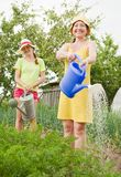 Women watering vegetables Royalty Free Stock Photography
