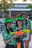 Women and waters gun in Songkran Festival Royalty Free Stock Image