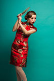 The women wear a Cheongsam Stock Image