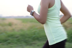 Women wear hand watch running motion blur concept royalty free stock photography