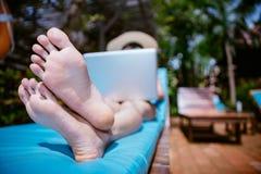 Woman in pool villa Royalty Free Stock Image