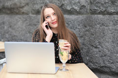 Women is wearing black shirt in the cafe Stock Image